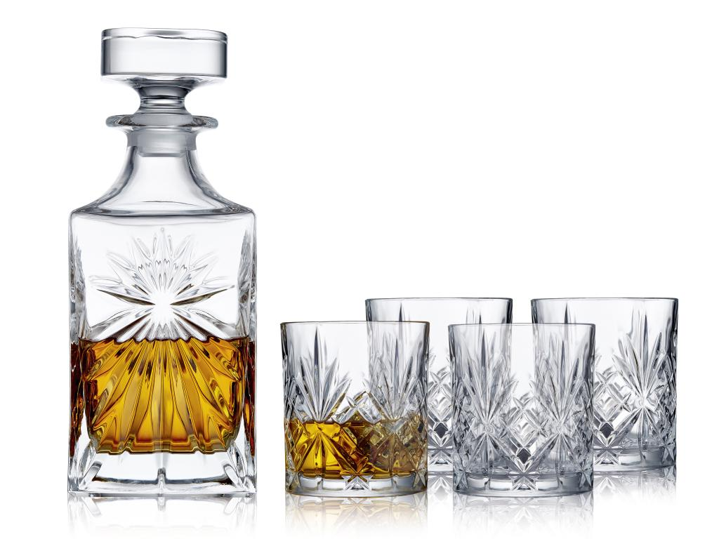 Karafla og 4 stk Melodia whiskeyglös