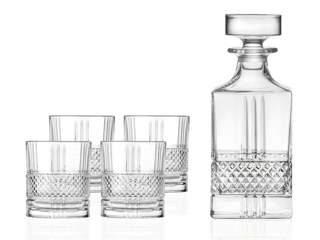 Karafla og 4 whiskey glös Brillante