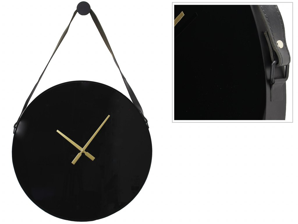 Veggklukka með leður ól 60x94cm metal black